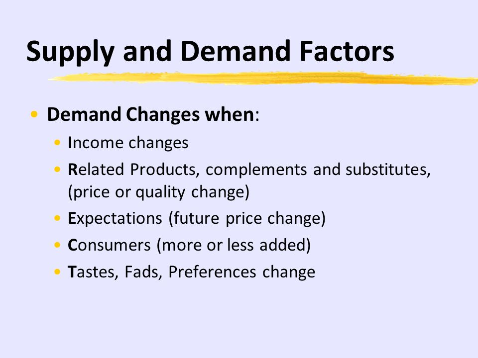 Supply and Demand Factors Demand Changes when: Income changes Related Products, complements and substitutes, (price or quality change) Expectations (future price change) Consumers (more or less added) Tastes, Fads, Preferences change