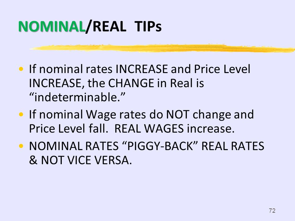 71 WAGES NOMINAL WAGES: amount of money received by a worker per unit of time (hour, day, etc.); Money Wage REAL WAGES: amount of goods and sevices a