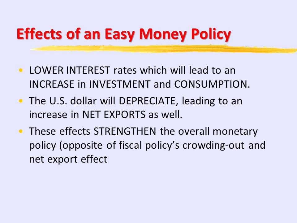 Easy Money Policy on AD/AS Buying Government Bonds, lowering the discount rate, or lowering reserve requirements, to fight a recession, by decreasing