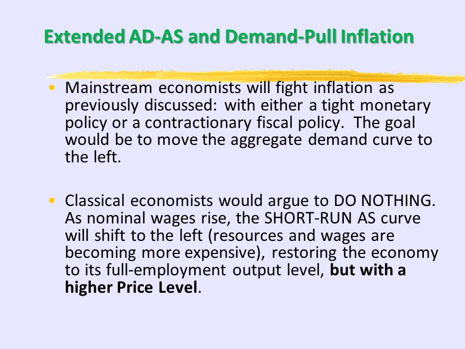 Extended AD-AS Model and Demand-Pull Inflation In Demand-Pull Inflation, the AD curve has shifted to the right of the LRAS and SRAS intersection. AD2