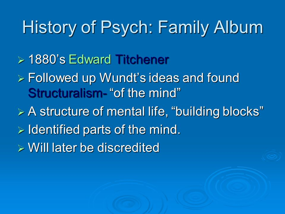 History of Psych: Family Album 1880s Edward Titchener 1880s Edward Titchener Followed up Wundts ideas and found Structuralism- of the mind Followed up