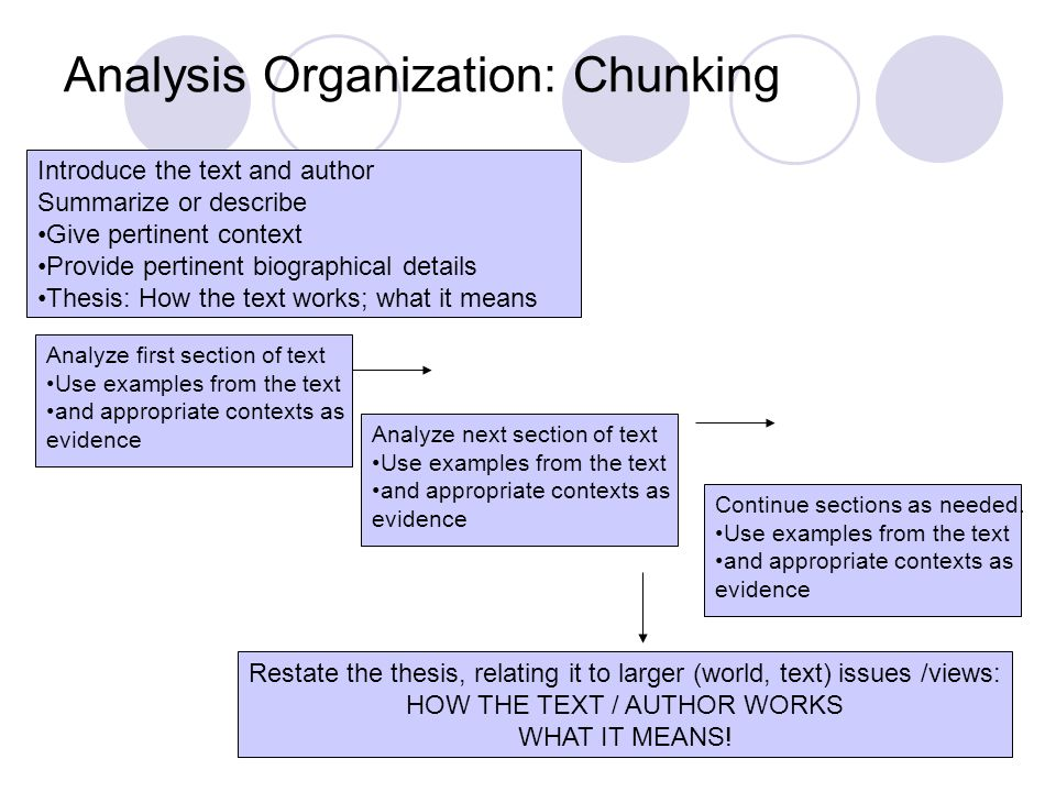 Analysis Organization: Chunking Introduce the text and author Summarize or describe Give pertinent context Provide pertinent biographical details Thes