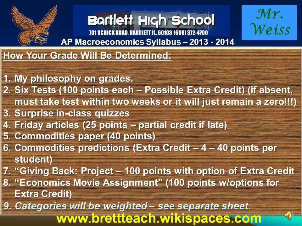Mr. Weiss AP Macroeconomics Syllabus – 2013 - 2014 Day to Day Work: We will generally work thru a module or two each day. Your day to day assignment w