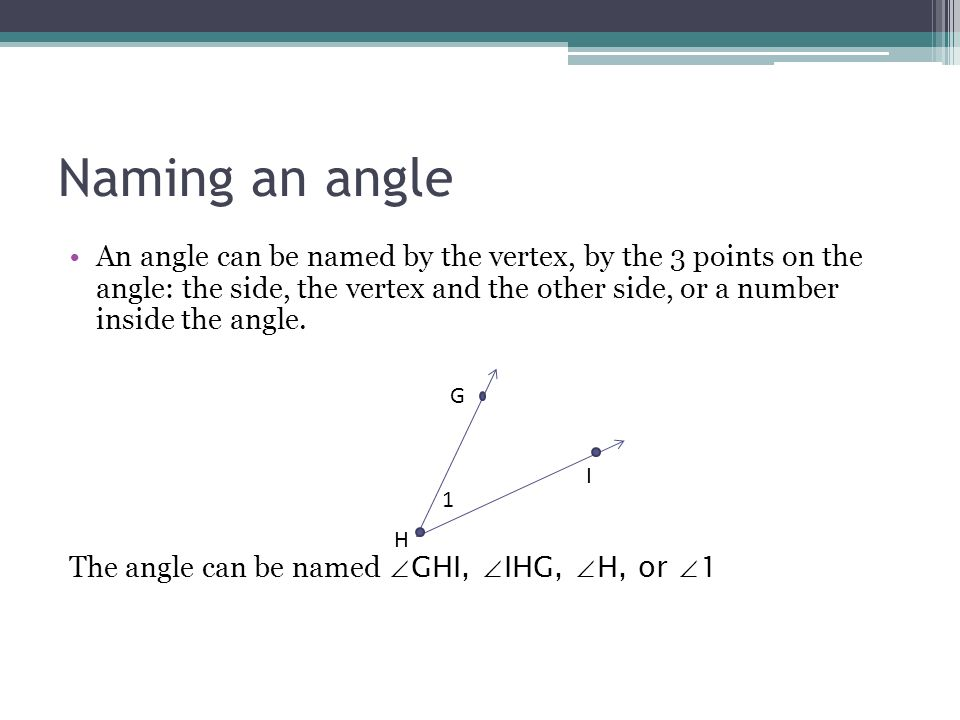 Naming an angle An angle can be named by the vertex, by the 3 points on the angle: the side, the vertex and the other side, or a number inside the ang