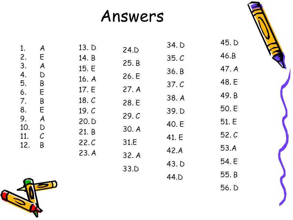 Answers 1.A 2.E 3.A 4.D 5.B 6.E 7.B 8.E 9.A 10.D 11.C 12.B 13.D 14.B 15.E 16.A 17.E 18.C 19.C 20.D 21.B 22.C 23.A 24.D 25. B 26. E 27. A 28. E 29. C 3