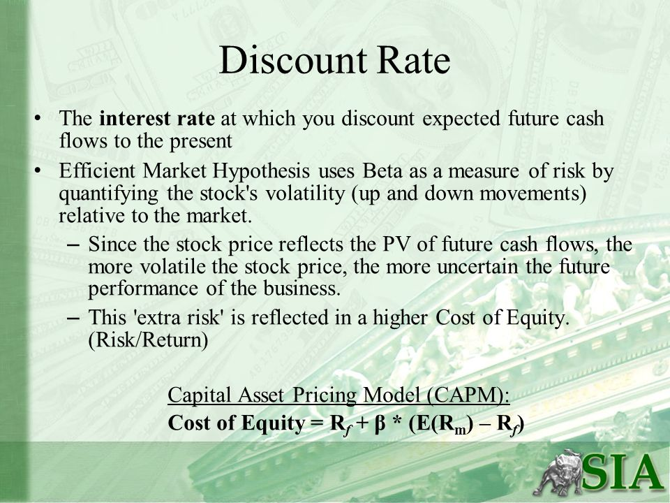 Discount Rate The interest rate at which you discount expected future cash flows to the present Efficient Market Hypothesis uses Beta as a measure of
