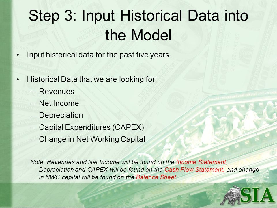 Step 3: Input Historical Data into the Model Input historical data for the past five years Historical Data that we are looking for: –Revenues –Net Inc
