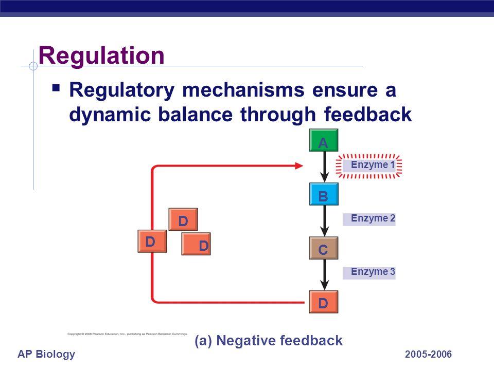 AP Biology 2005-2006 Regulation Regulatory mechanisms ensure a dynamic balance through feedback Enzyme 1 Enzyme 2 Enzyme 3 D D D D A B C (a) Negative