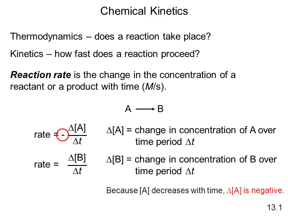 Chemical Kinetics Thermodynamics – does a reaction take place? Kinetics – how fast does a reaction proceed? Reaction rate is the change in the concent