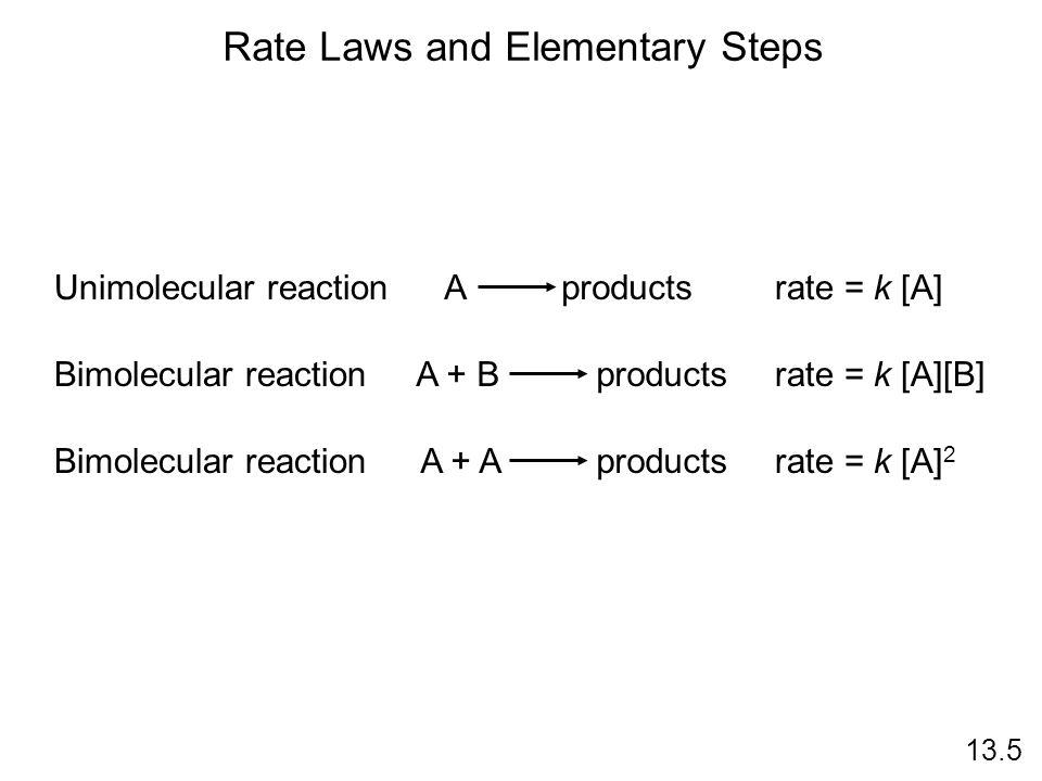 Unimolecular reactionA productsrate = k [A] Bimolecular reactionA + B productsrate = k [A][B] Bimolecular reactionA + A productsrate = k [A] 2 Rate La
