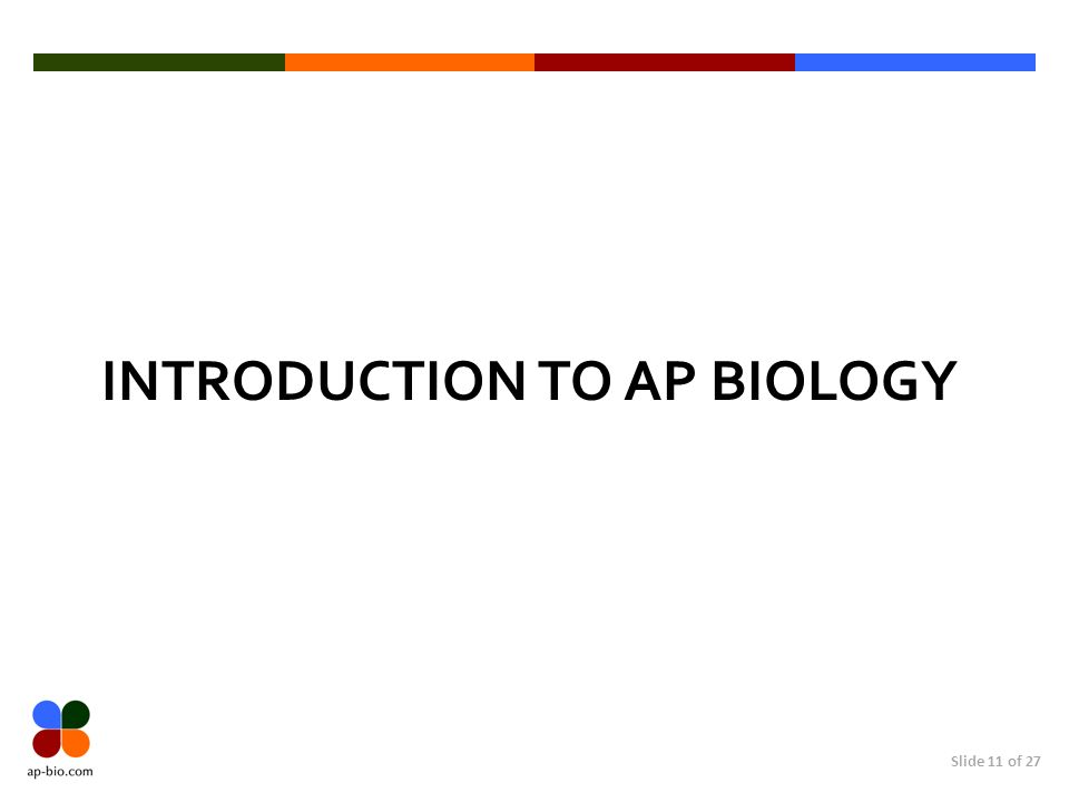 Slide 11 of 27 INTRODUCTION TO AP BIOLOGY