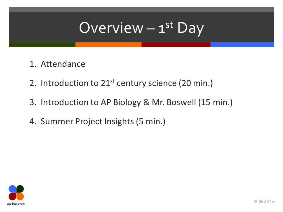 Slide 2 of 27 Overview – 1 st Day 1. Attendance 2. Introduction to 21 st century science (20 min.) 3. Introduction to AP Biology & Mr. Boswell (15 min