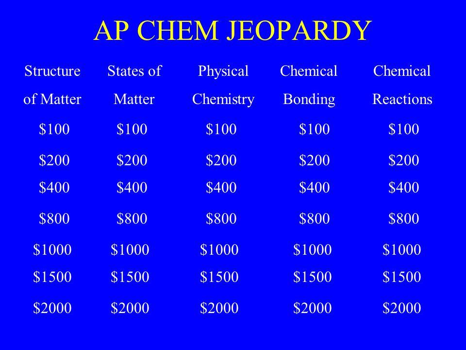 AP Chemistry Jeopardy 2000