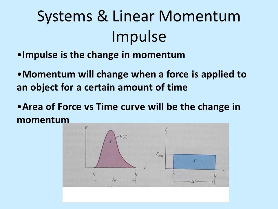 Systems & Linear Momentum Impulse Impulse is the change in momentum Momentum will change when a force is applied to an object for a certain amount of