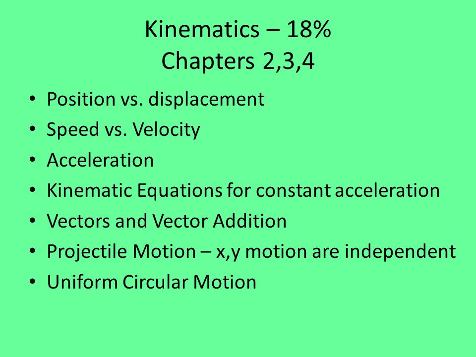Oscillations and Gravity – 18% Chapters 14 & 16 Law of Gravitation Superposition – find force by adding the force from each individual object Shell Theorem – mass outside of shell doesnt matter Gravitational Potential Energy Orbital Energy – Kinetic plus Potential Escape Speed Keplers Laws – Elliptical Orbits – Equal area in equal time (Cons.