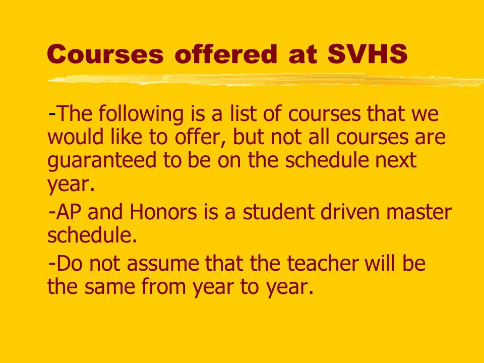 Courses offered at SVHS z-The following is a list of courses that we would like to offer, but not all courses are guaranteed to be on the schedule nex