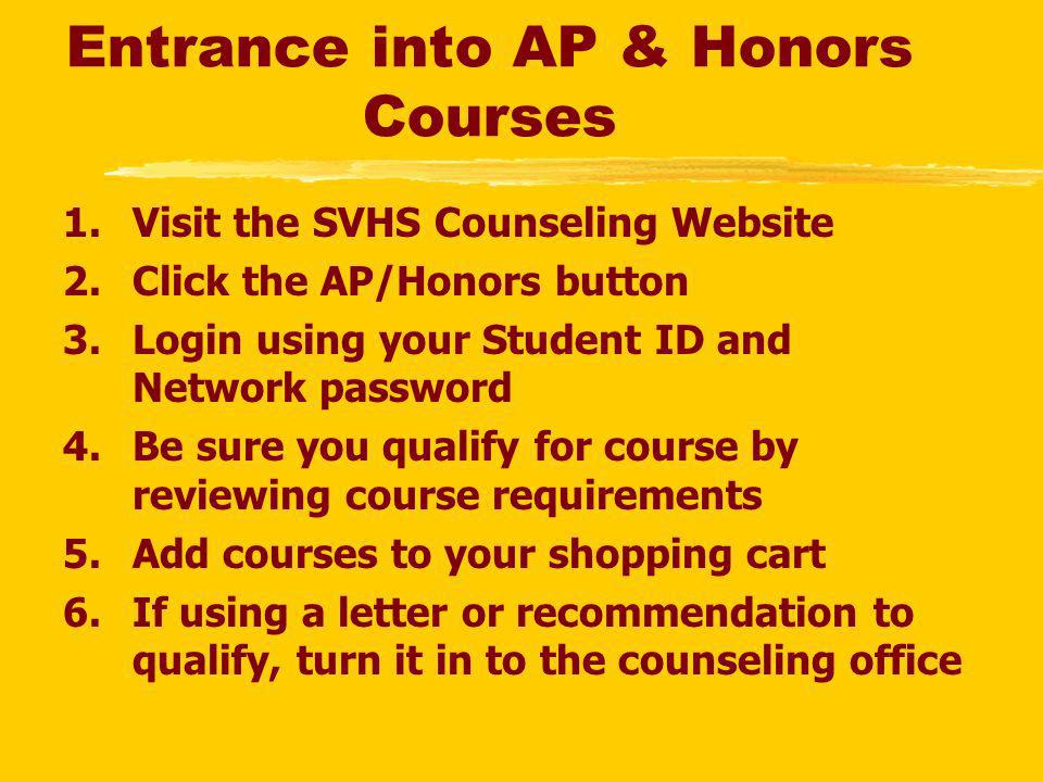 Entrance into AP & Honors Courses 1.Visit the SVHS Counseling Website 2.Click the AP/Honors button 3.Login using your Student ID and Network password