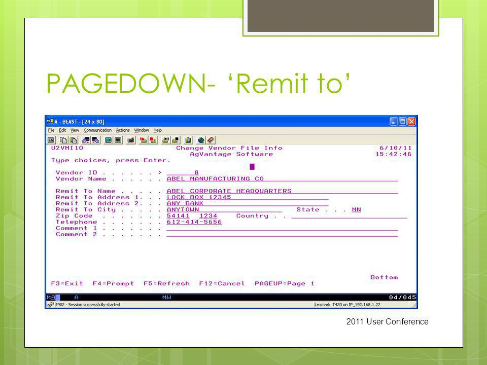 PAGEDOWN- Remit to 2011 User Conference