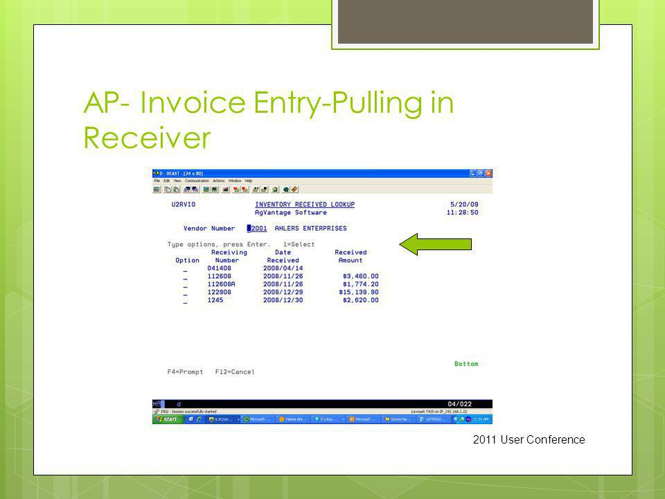 AP- Invoice Entry-Pulling in Receiver 2011 User Conference