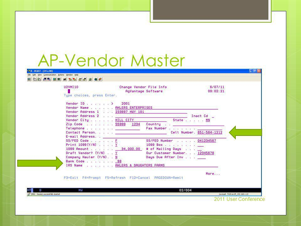 AP-Vendor Master 2011 User Conference