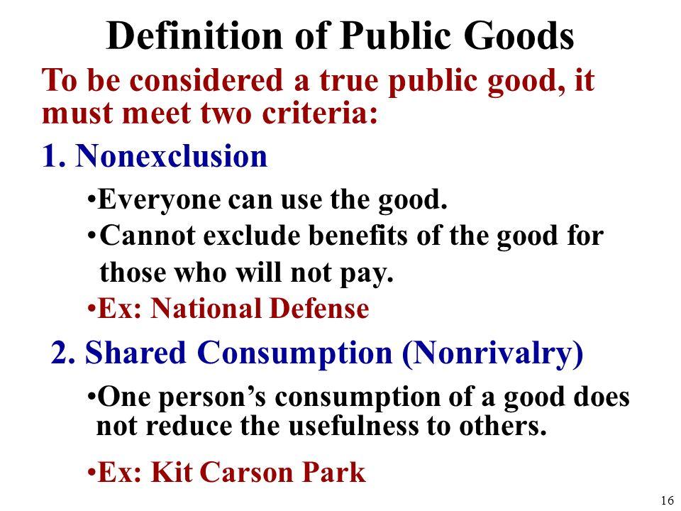 Definition of Public Goods 15