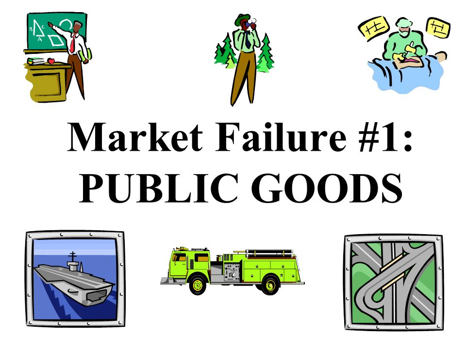 The Four Market Failures We will focus on four different market failures: 1.Public Goods 2. Externalities (third person side effects) 3. Monopolies 4.