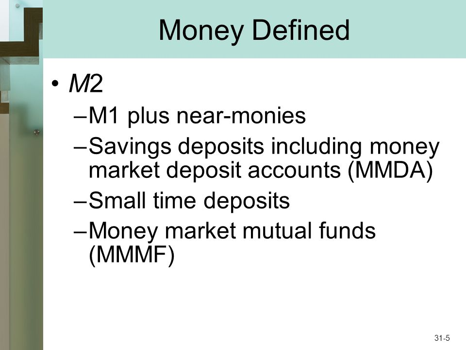 Money Defined M2 –M1 plus near-monies –Savings deposits including money market deposit accounts (MMDA) –Small time deposits –Money market mutual funds (MMMF) 31-5