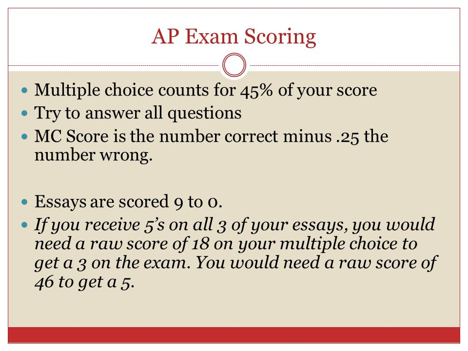 AP Exam Scoring Multiple choice counts for 45% of your score Try to answer all questions MC Score is the number correct minus.25 the number wrong. Ess
