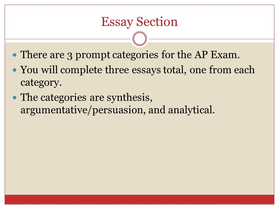 Essay Section There are 3 prompt categories for the AP Exam.