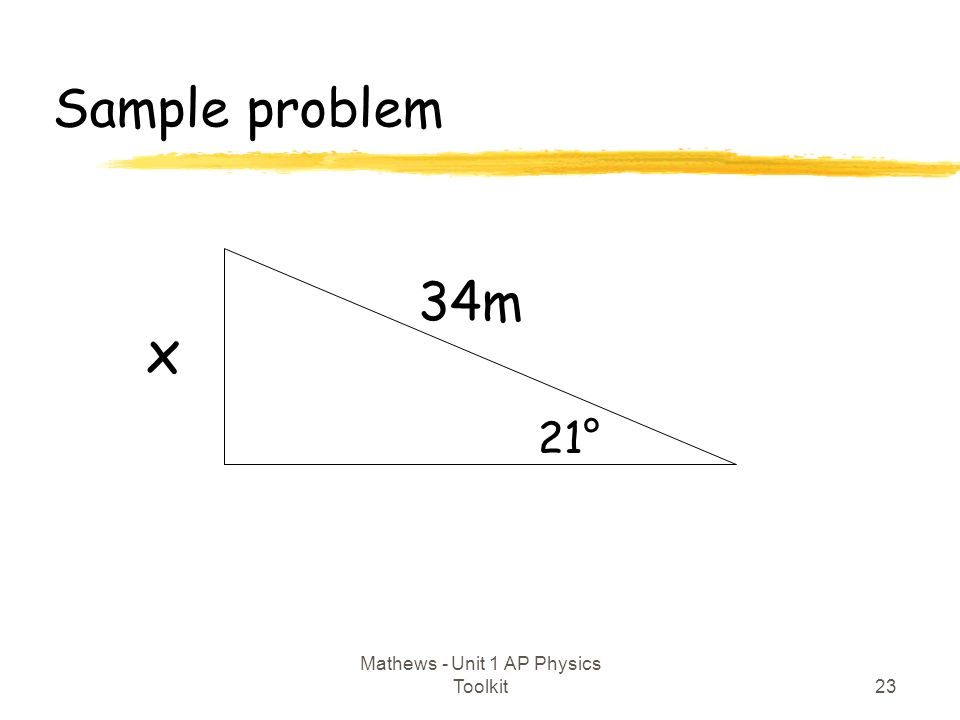 Sample problem 23 Mathews - Unit 1 AP Physics Toolkit 34m 21° x