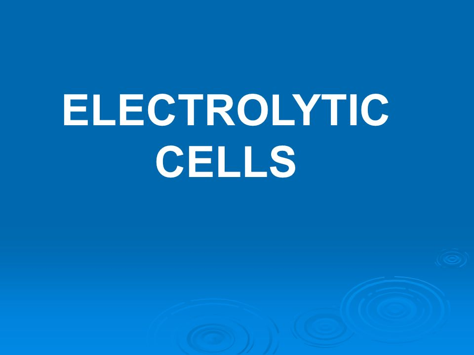 ELECTROLYTIC CELLS