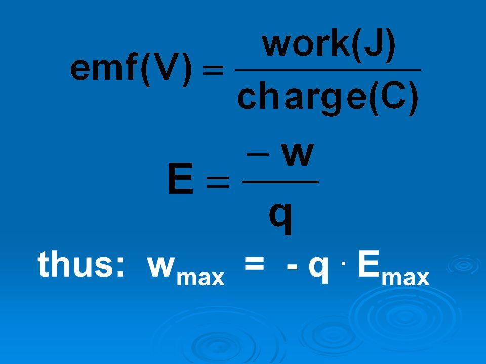 thus: w max = - q. E max