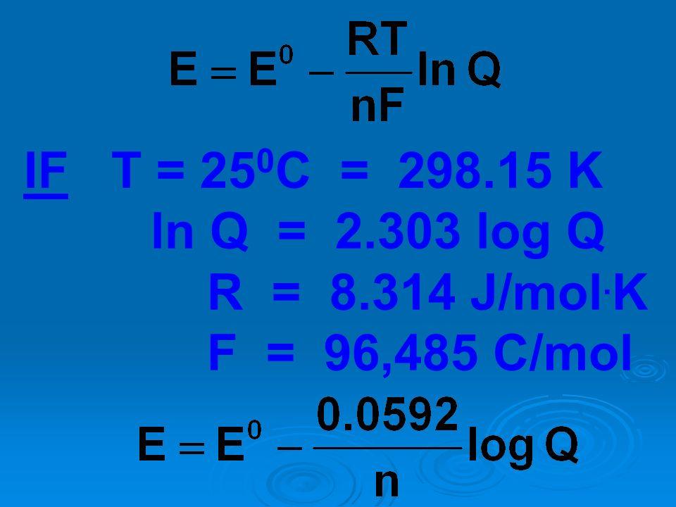 IF T = 25 0 C = 298.15 K ln Q = 2.303 log Q R = 8.314 J/mol. K F = 96,485 C/mol