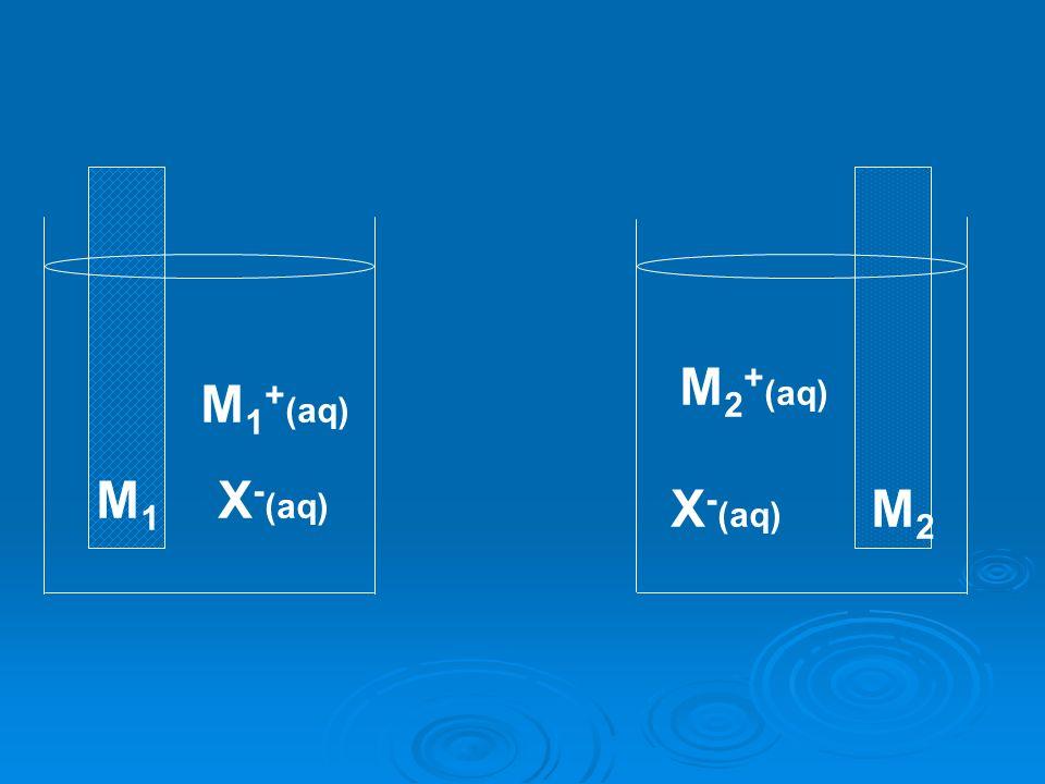 M1M1 M2M2 M 1 + (aq) X - (aq) M 2 + (aq)