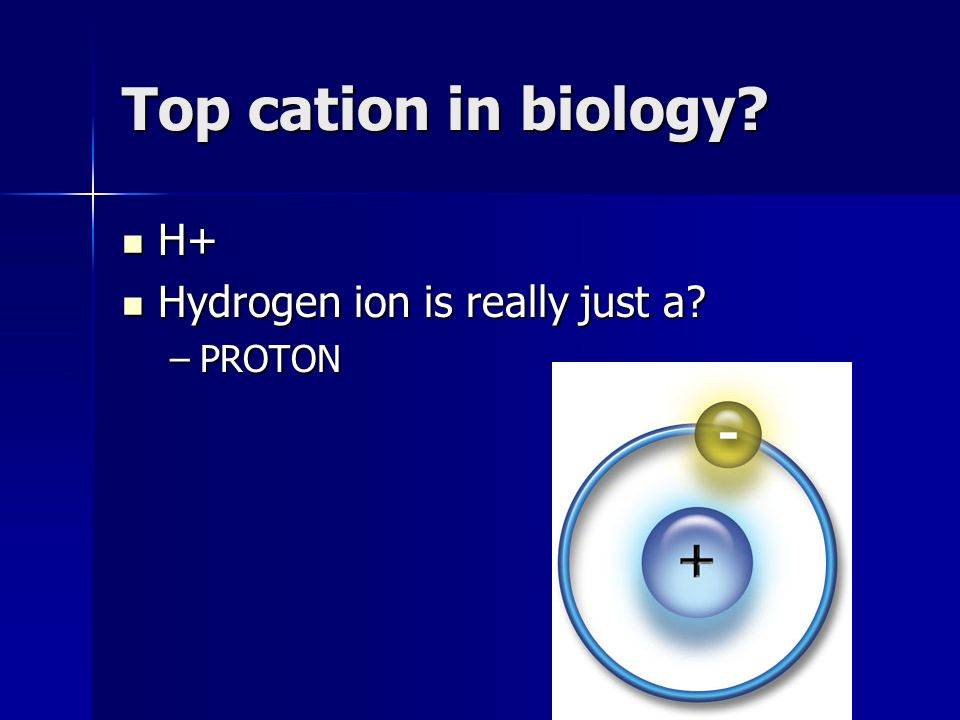 Top cation in biology H+ H+ Hydrogen ion is really just a Hydrogen ion is really just a –PROTON
