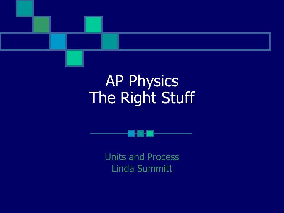 AP Physics The Right Stuff Units and Process Linda Summitt
