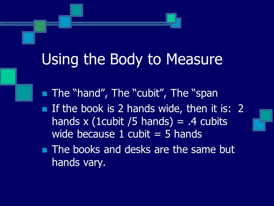 Using the Body to Measure The hand, The cubit, The span If the book is 2 hands wide, then it is: 2 hands x (1cubit /5 hands) =.4 cubits wide because 1 cubit = 5 hands The books and desks are the same but hands vary.