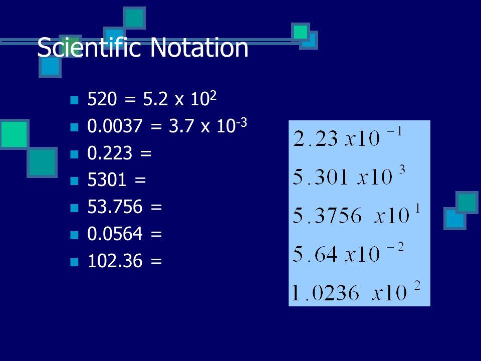 Scientific Notation 520 = 5.2 x 10 2 0.0037 = 3.7 x 10 -3 0.223 = 5301 = 53.756 = 0.0564 = 102.36 =