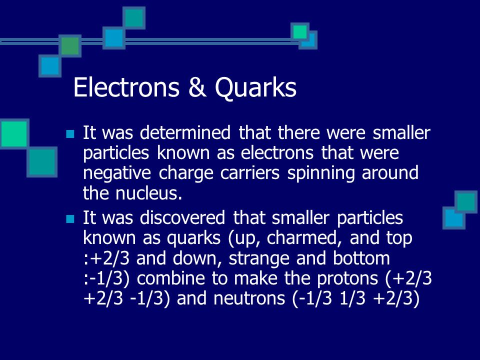 Electrons & Quarks It was determined that there were smaller particles known as electrons that were negative charge carriers spinning around the nucleus.