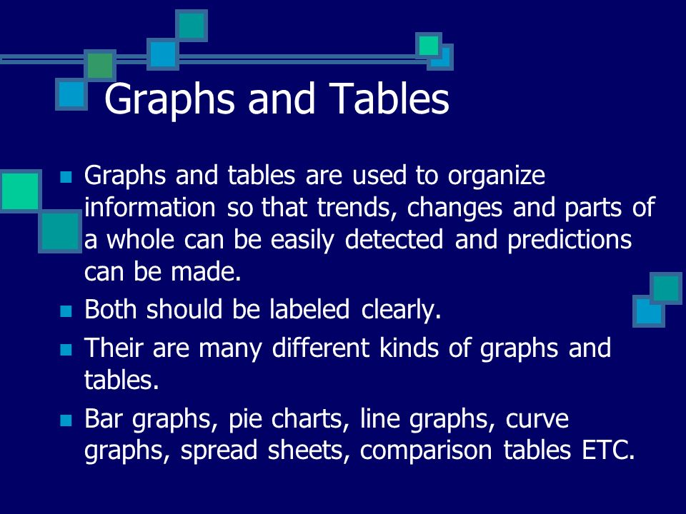 Graphs and Tables Graphs and tables are used to organize information so that trends, changes and parts of a whole can be easily detected and predictions can be made.