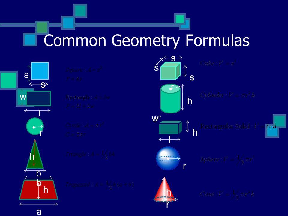 Common Geometry Formulas a b b r l s s w h h s s s r h w h l r h r