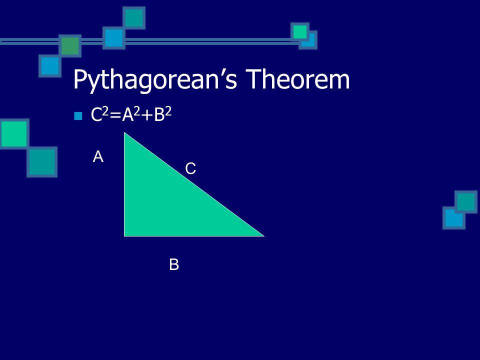 Pythagoreans Theorem C 2 =A 2 +B 2 A B C