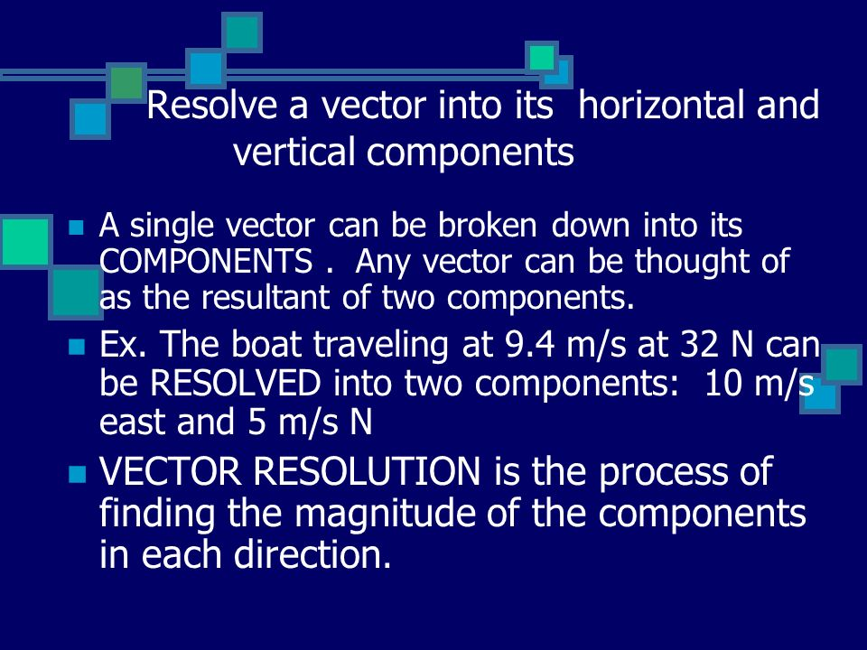 Resolve a vector into its horizontal and vertical components A single vector can be broken down into its COMPONENTS.