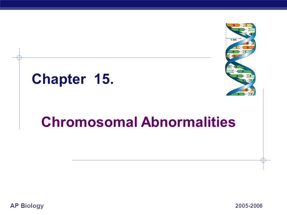AP Biology 2005-2006 Chromosomal Abnormalities Chapter 15.