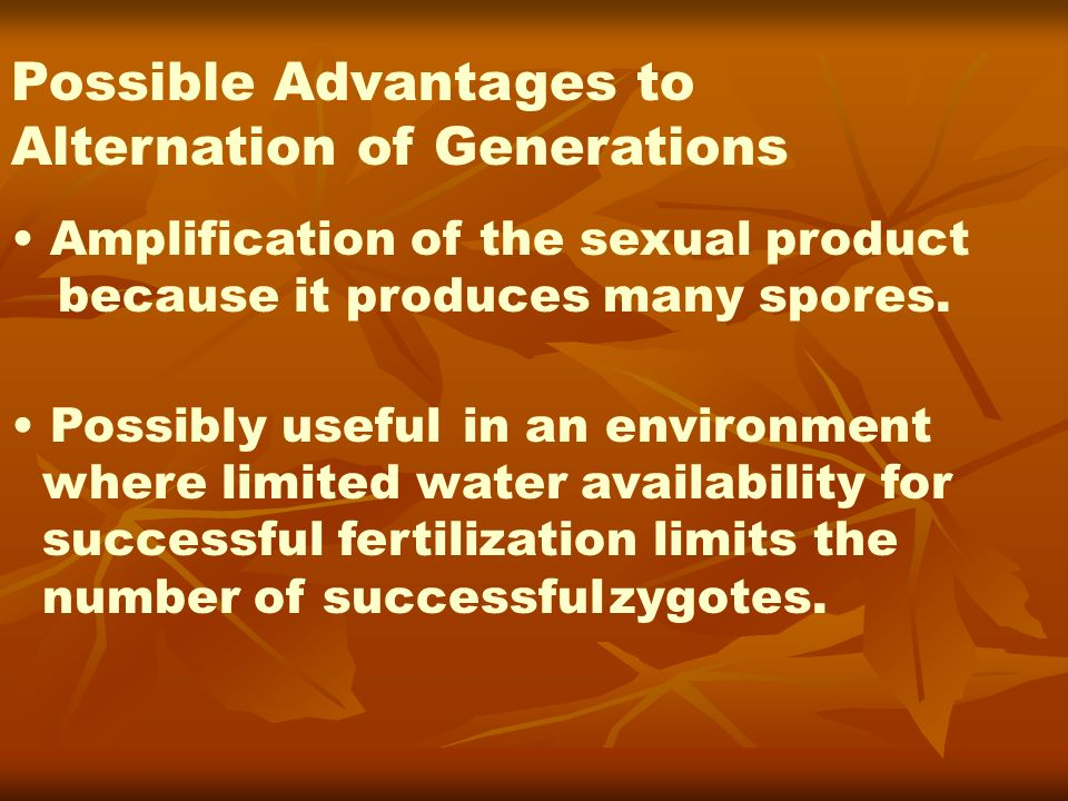 Possible Advantages to Alternation of Generations Amplification of the sexual product because it produces many spores. Possibly useful in an environme