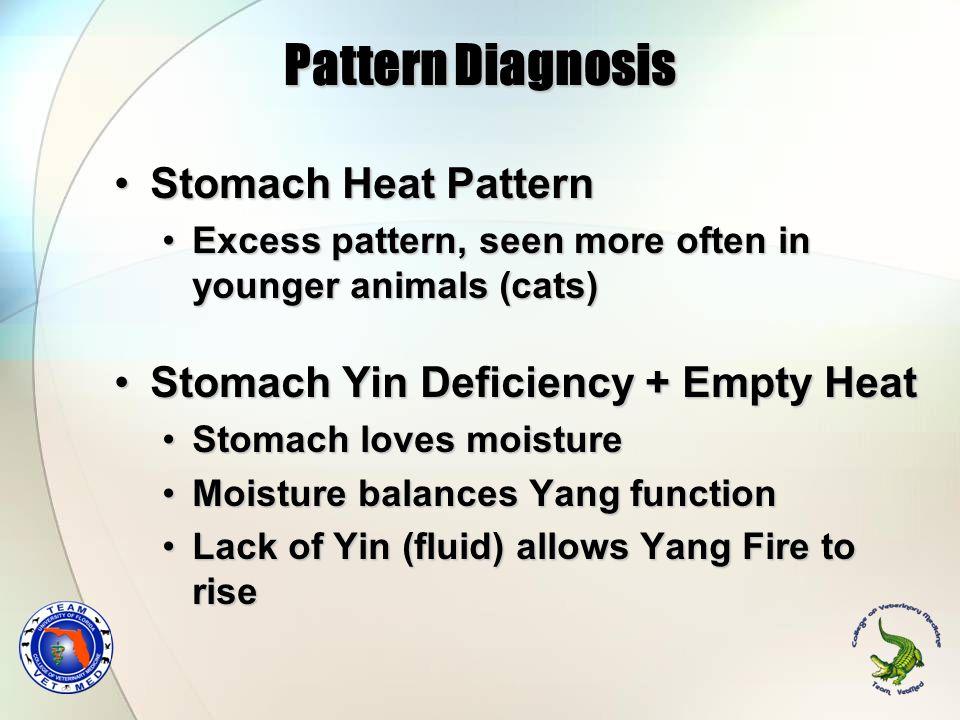 Pattern Diagnosis Stomach Heat PatternStomach Heat Pattern Excess pattern, seen more often in younger animals (cats)Excess pattern, seen more often in