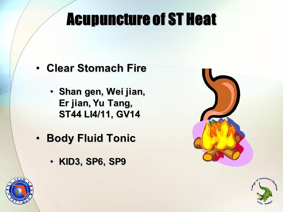 Acupuncture of ST Heat Clear Stomach FireClear Stomach Fire Shan gen, Wei jian, Er jian, Yu Tang, ST44 LI4/11, GV14Shan gen, Wei jian, Er jian, Yu Tan