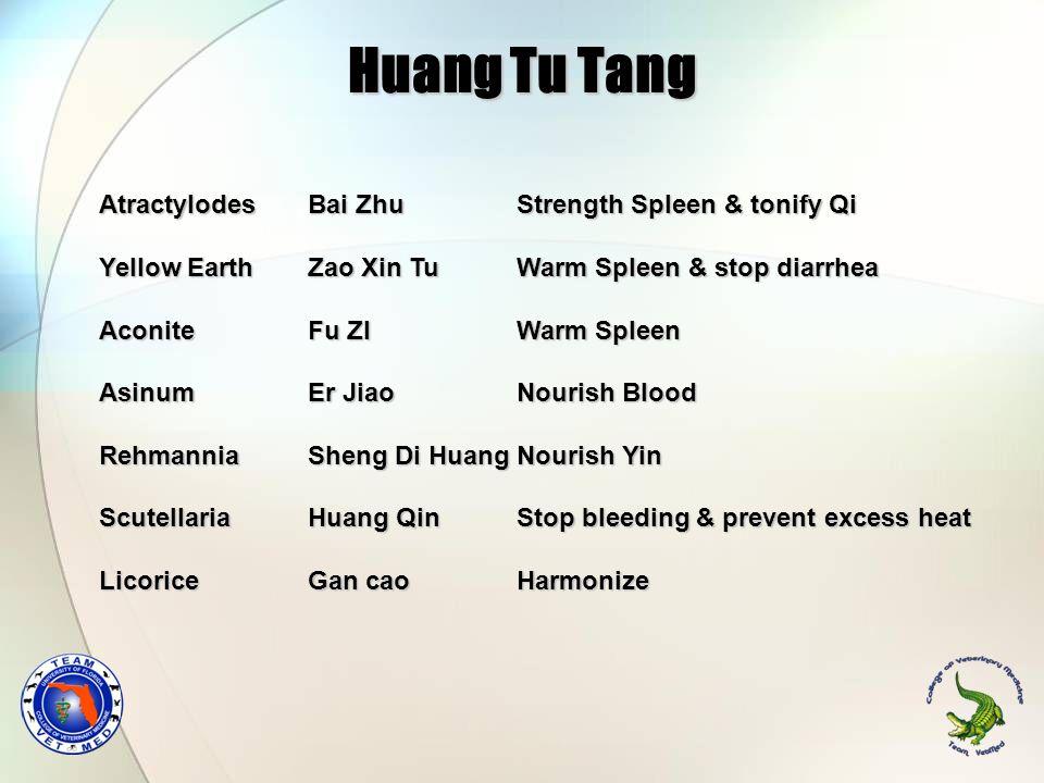 AtractylodesBai ZhuStrength Spleen & tonify Qi Yellow EarthZao Xin TuWarm Spleen & stop diarrhea AconiteFu ZIWarm Spleen AsinumEr JiaoNourish Blood Re