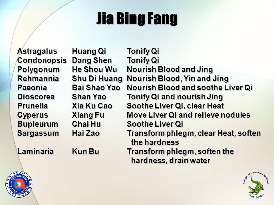 Jia Bing Fang Astragalus Huang Qi Tonify Qi Condonopsis Dang Shen Tonify Qi Polygonum He Shou Wu Nourish Blood and Jing Rehmannia Shu Di Huang Nourish