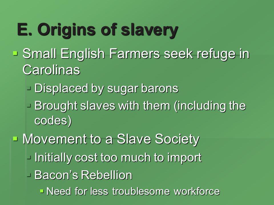 E. Origins of slavery Small English Farmers seek refuge in Carolinas Small English Farmers seek refuge in Carolinas Displaced by sugar barons Displace